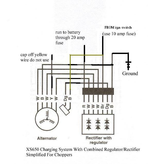 rider > > xs > > motorcycle systems > > electrical > > is the brown wire comes from the igntion switch not to power from the ignition switch and battery goes to the regulator to power it and to provide a