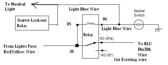 how do i wire my headlight to the neutral switch yamaha xs650 this drawing shows the relay not operated the bike in gear so there is a circuit from 30 to 87a and the blue black wire to the rlu to turn on the
