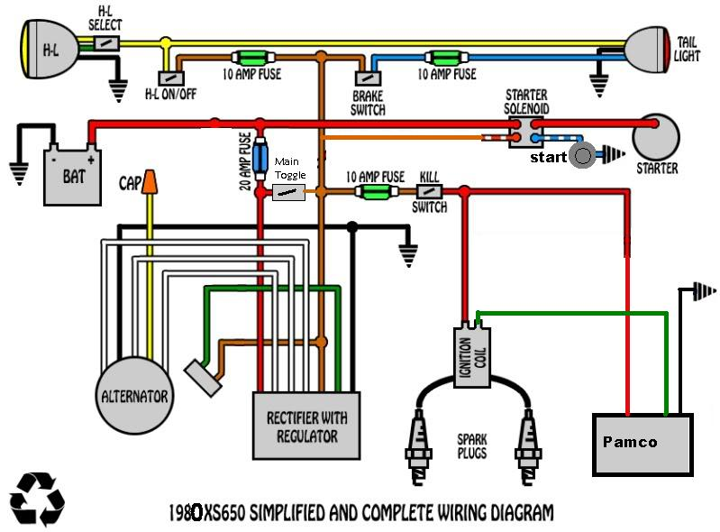 xs650 chopper wiring with gauges  xs650  free engine image Mini Chopper Wiring Diagram Basic Harley-Davidson Wiring Diagram Manual