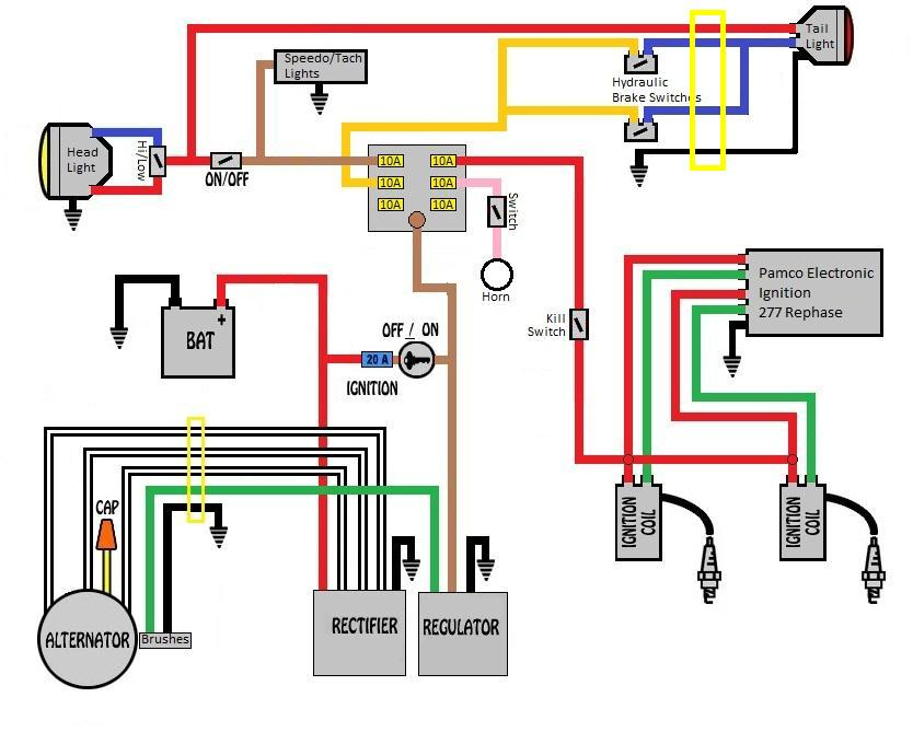 Xs650 Wiring Diagram Color : Xs chopper wiring with gauges free engine image